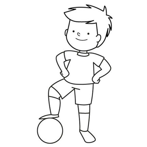 Nino Jugando Al Futbol Con Su Pelota Dibujo Para Colorear E