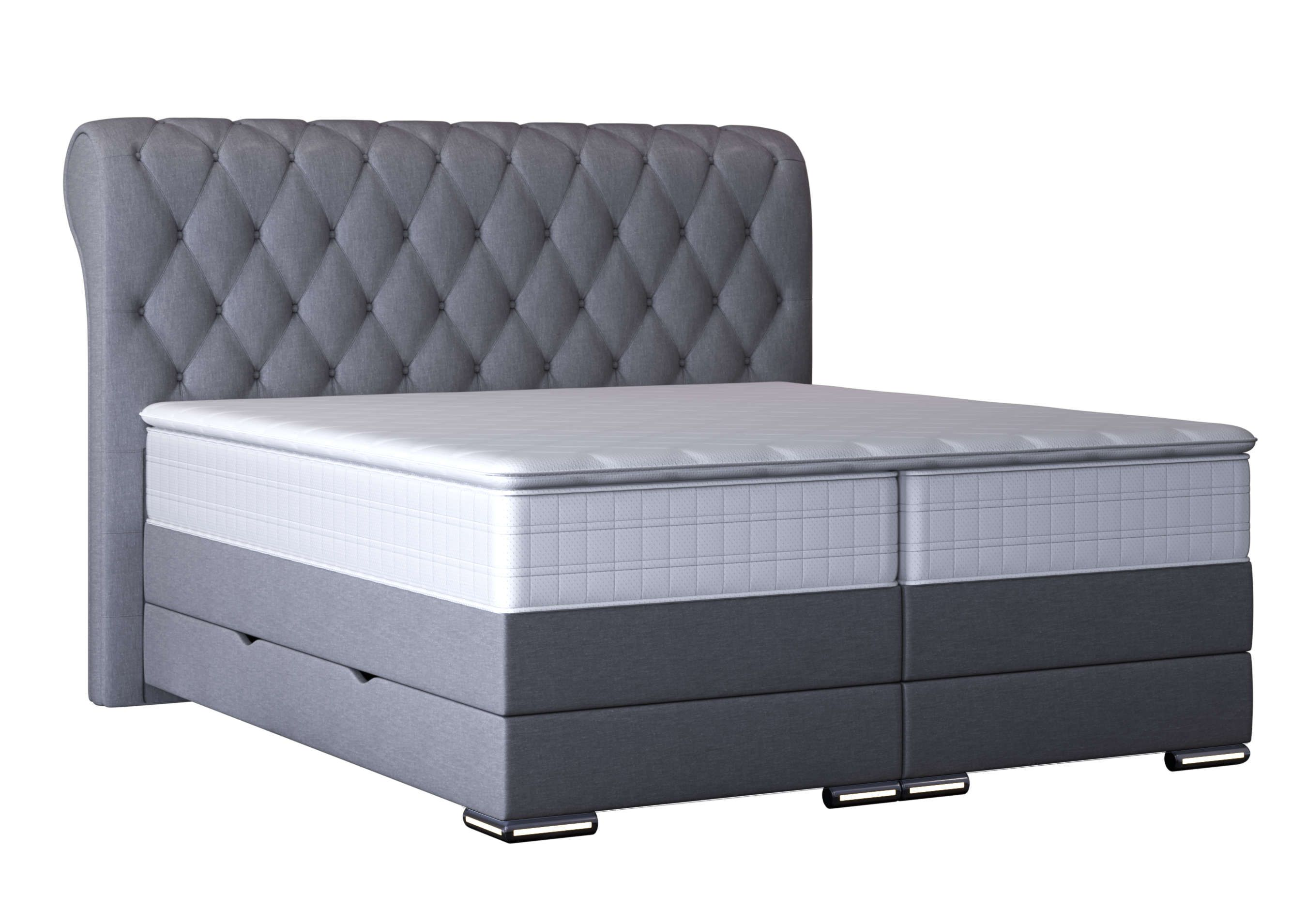 Boxspringbett Baron Graumit Led Beleuchtung Luxus