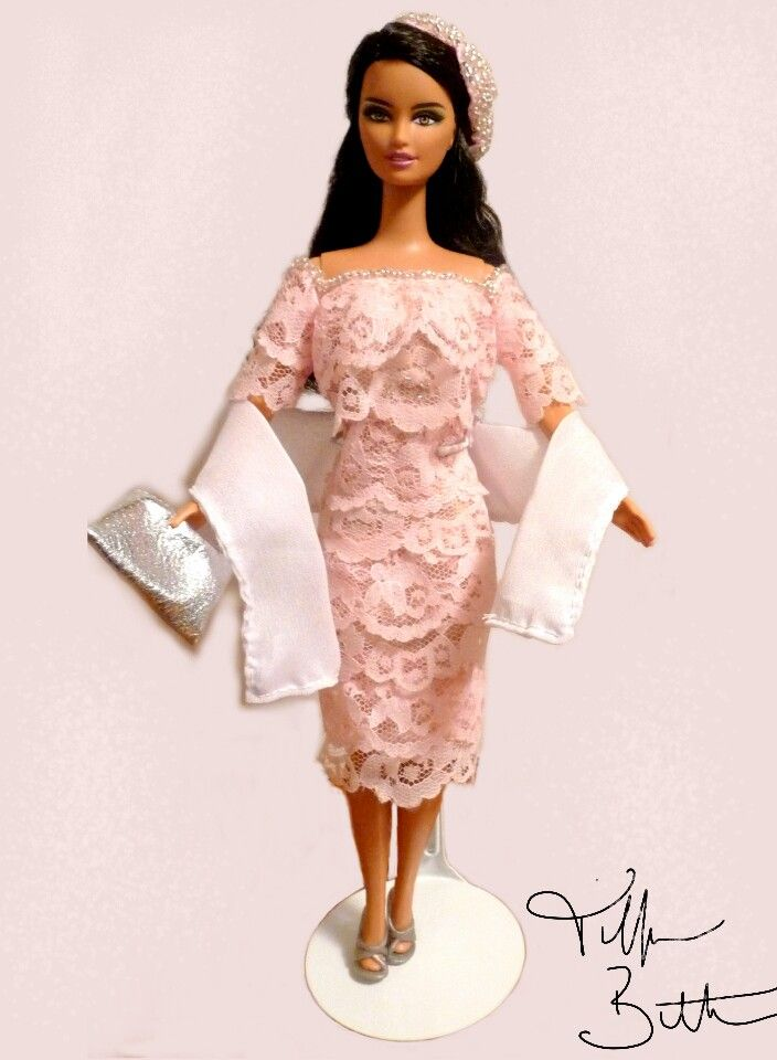 """Pink Lace Glamour"" ..my latest in dresswear for fashion dolls...see the listing on Etsy in my new shop ""Dolls By Tiffanie""..."