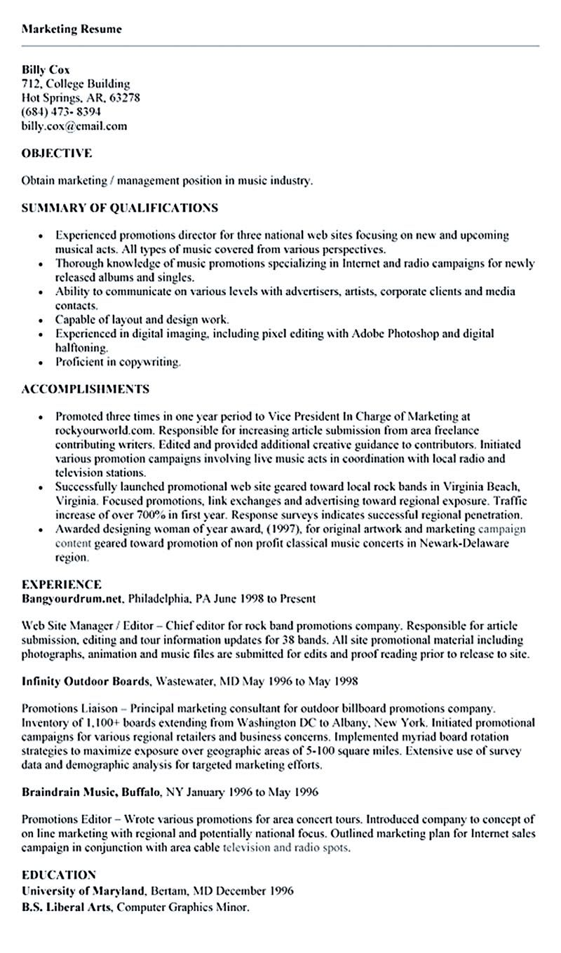 The Best Way to Provide the Best Marketing Resume (Dengan