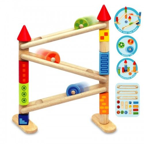 Build your very own unique tower roller. Get imaginative and make any shape and size you want using the construction blocks provided.   	Produced from sustainable rubberwood and finished with non toxic paints.