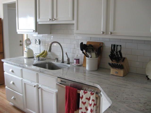 White River Granite White Subway Tile White Cabinets White Kitchen Remodeling White Subway Tiles Kitchen Backsplash Kitchen Remodel