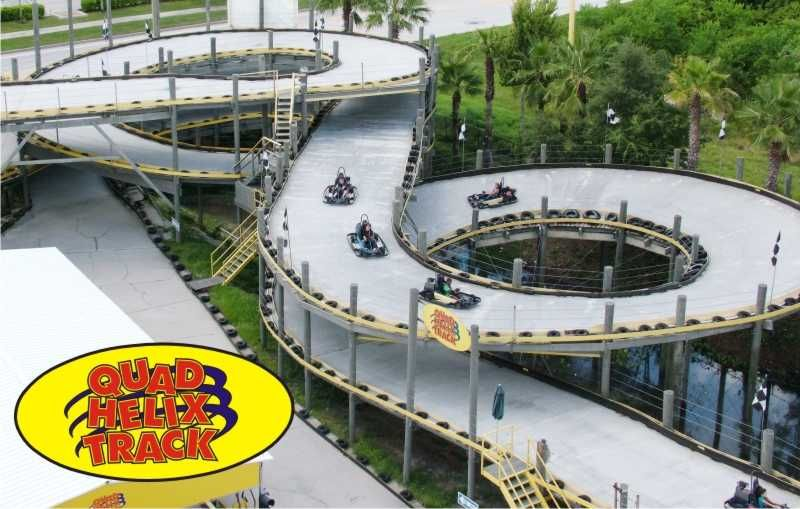 Quad Helix Go Kart Track At Fun Spot In Orlando Over Feet 4 Corks Overpes Underpes 25 Degree Banked Descending Curve