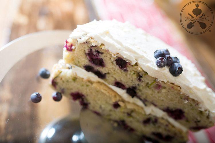 Vegan blueberry zucchini layer cake with lemon buttercream from The Spoon + Shovel