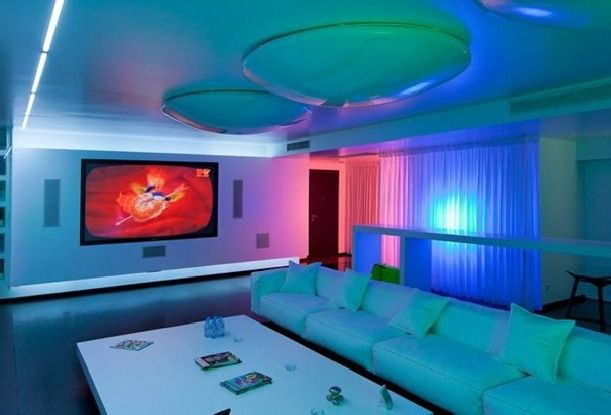Pink and green lighting design aut Luxury Apartments Design ...
