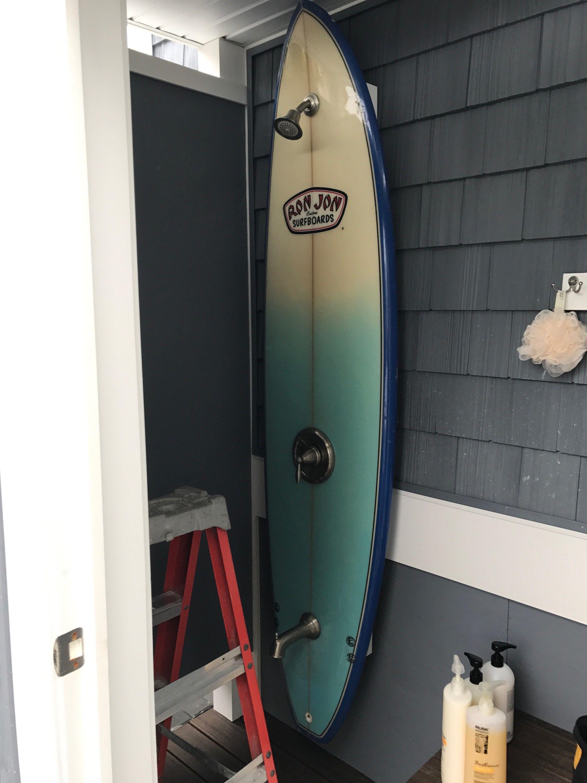 Diy Outdoor Surfboard Shower Outdoor Pool Shower Surf Decor Pool Shower