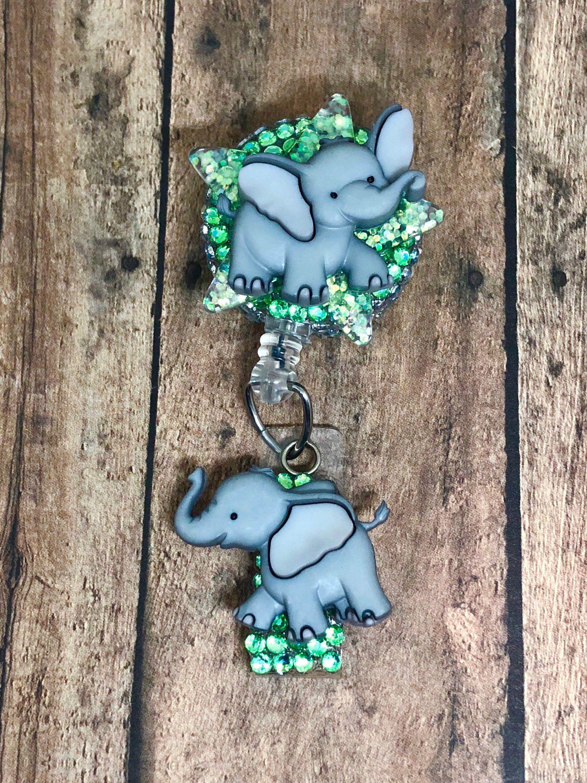 Elephants Walking By ID Badge Reel - Retractable Badge