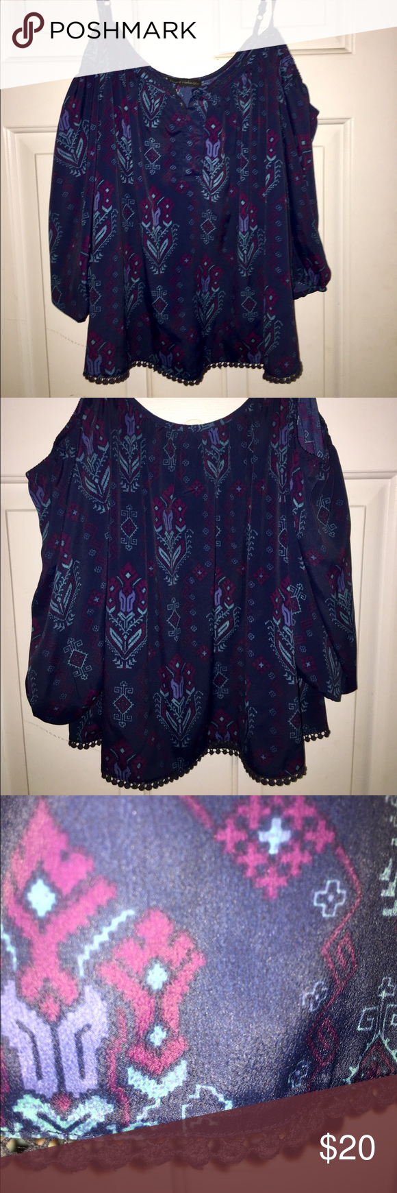 House of Harlow peasant top Peasant top with beautiful boho pattern, float, adjustable shoulder straps for perfect fit. House of Harlow 1960 (bought at PacSun) House of Harlow 1960 Tops Blouses