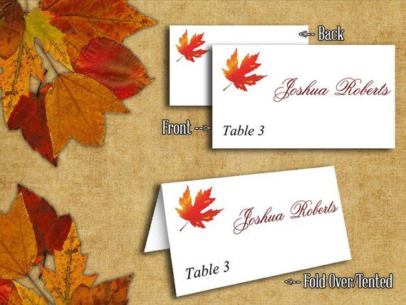 DIY Wedding Tent Place Cards Template Maple Leaves Rustic Red Orange
