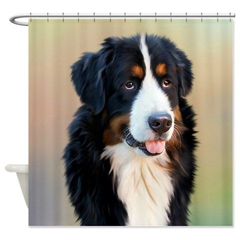 Shower Curtain Bernese Mountain by FolkandFunky on Etsy