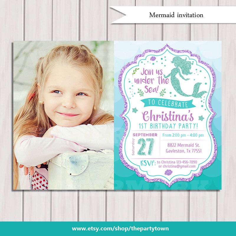 Mermaid Birthday Invitation, Little Mermaid Party Invite Under the ...