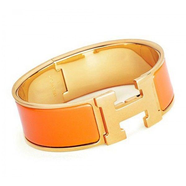 Orange Hermes Clic Clac H Bracelet Gold With Enamel Product Model Hermes H Bracelet Availability In Stock Enamel Jewelry Hermes Bracelet Hermes H Bracelet
