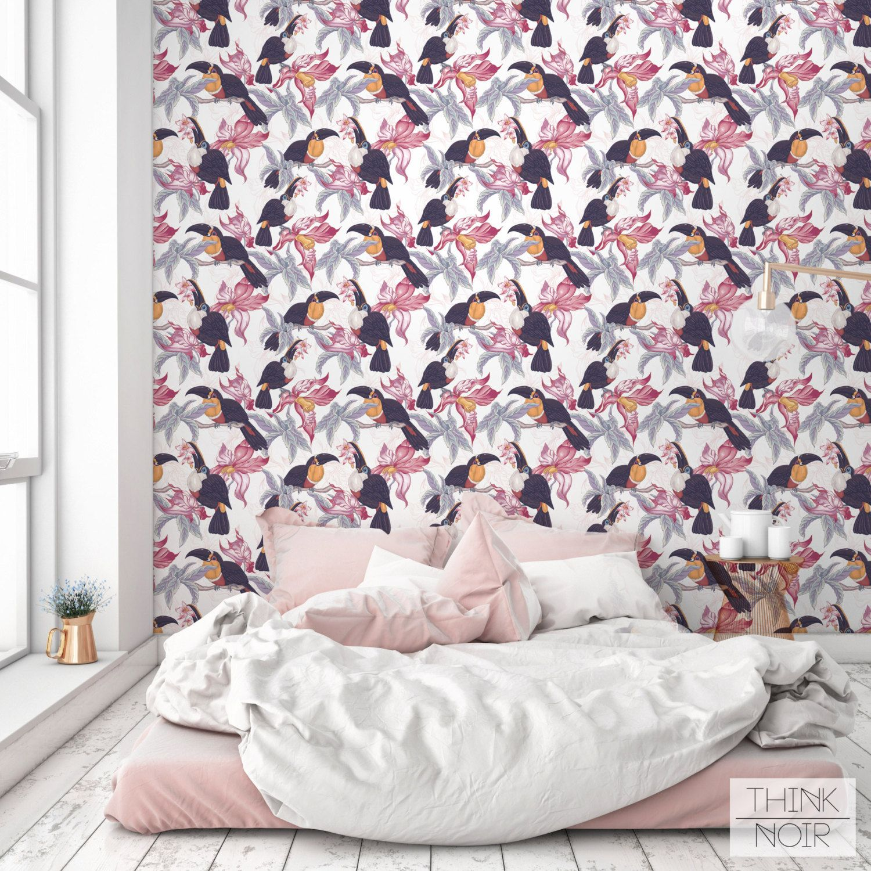 Peel and Stick Tropic Bird Pattern Wallpaper / Modern by