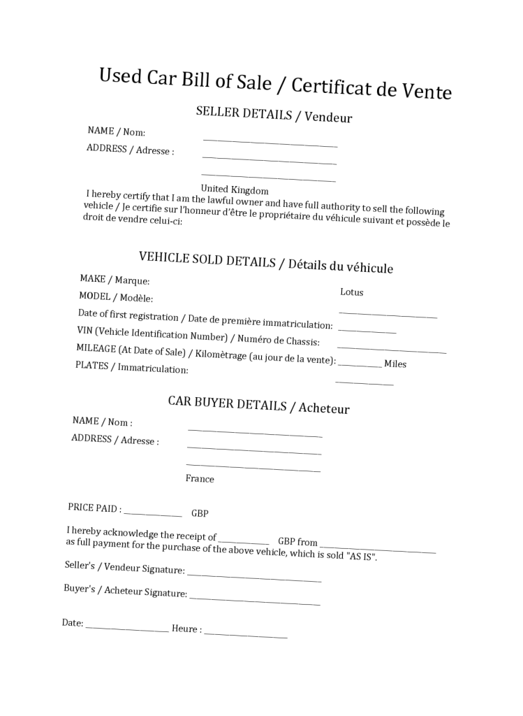 Certified used car bill of sale for trusty transaction