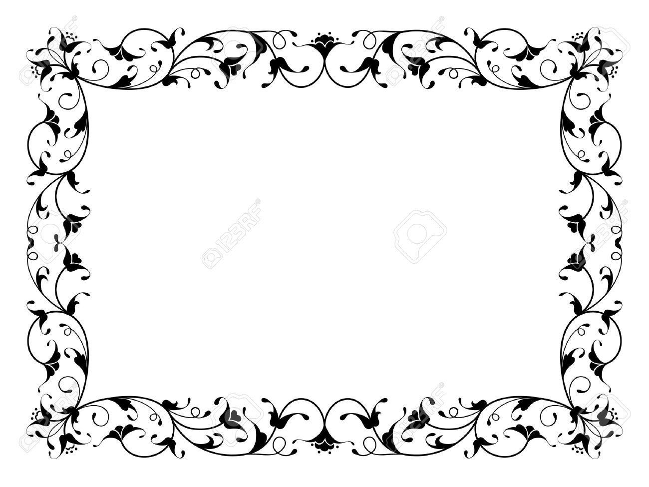 motif d 39 encadrement floral oriental ornemental d co noir isol transferts pinterest. Black Bedroom Furniture Sets. Home Design Ideas