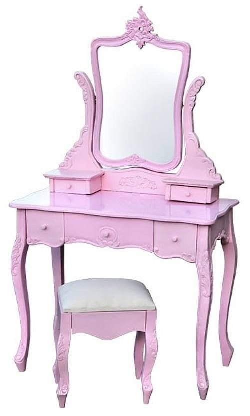 Lovely Pink Dressing Table With Stool