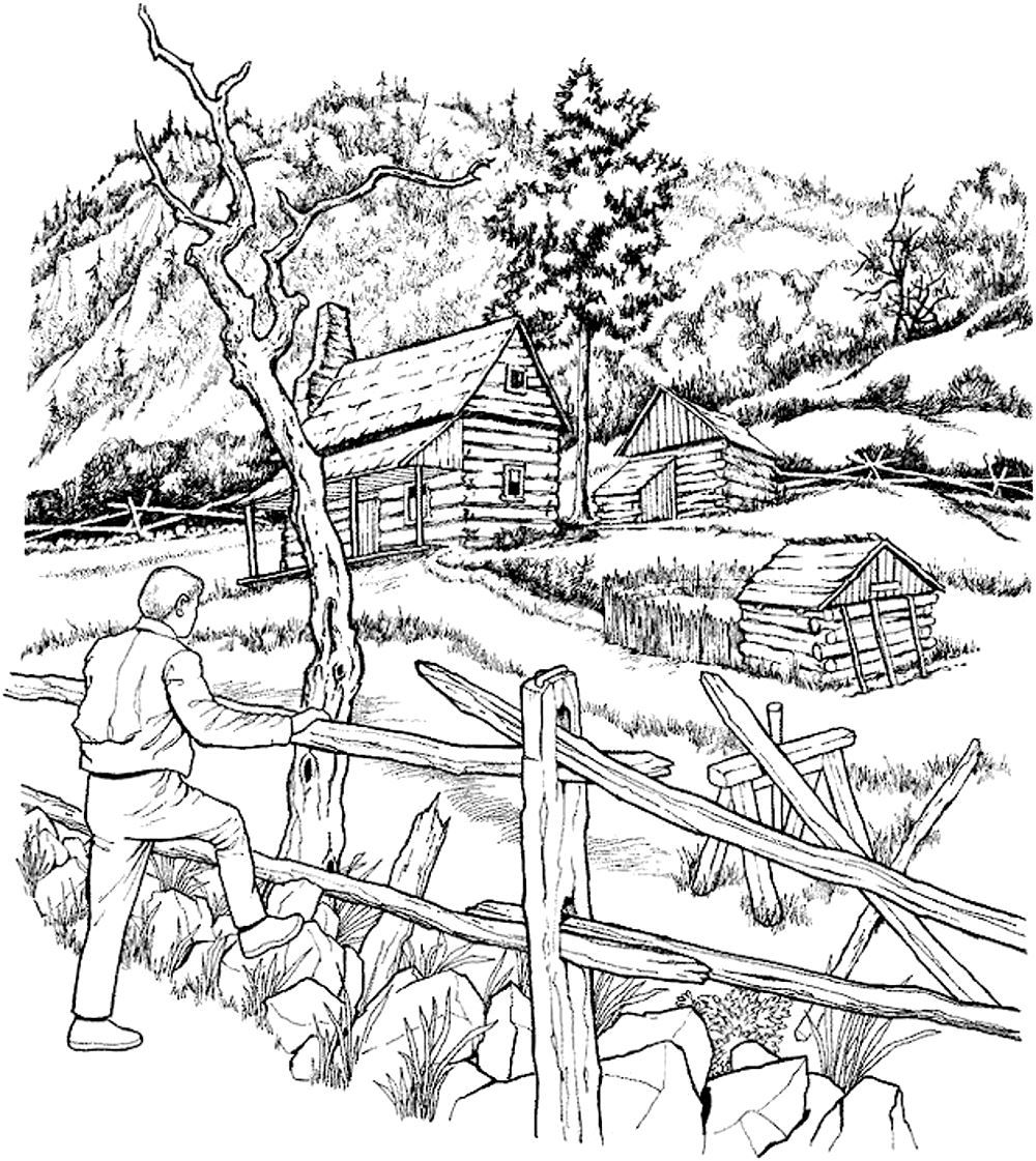 Coloring pages for adults landscapes - Free Coloring Page Coloring Adult Snowy Cabins