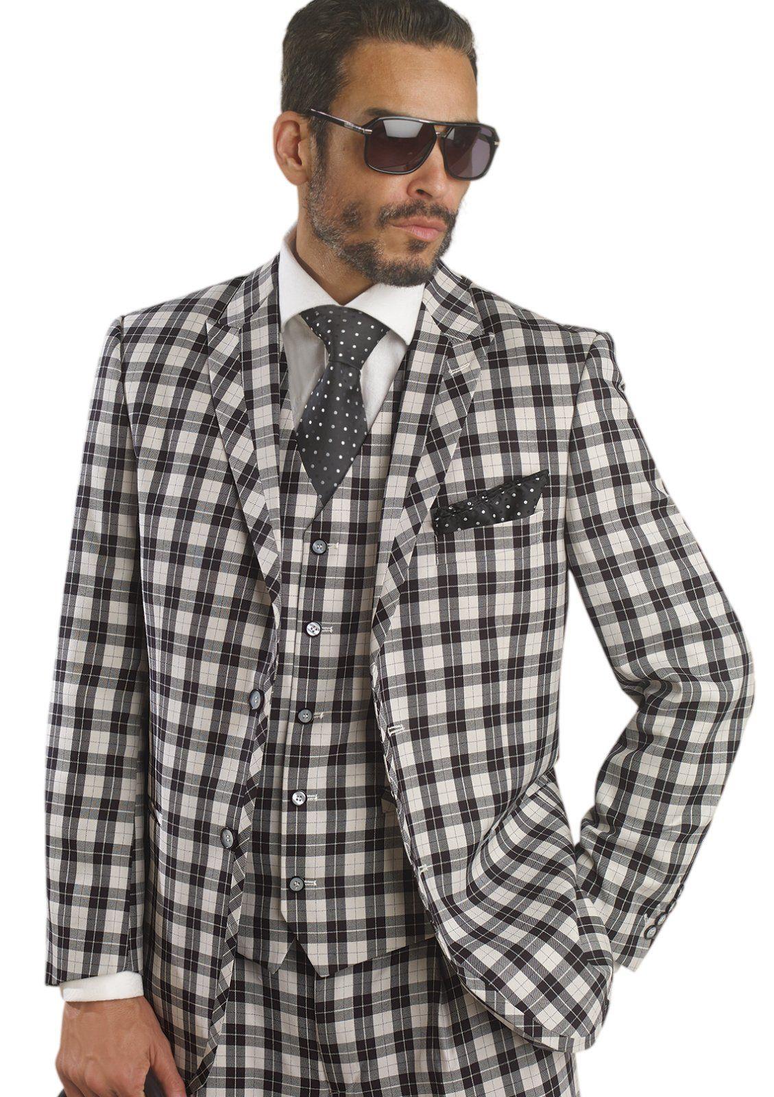 Black White Bold Plaid 3 Piece Fashion Mens Suit M2655 Cyber ...