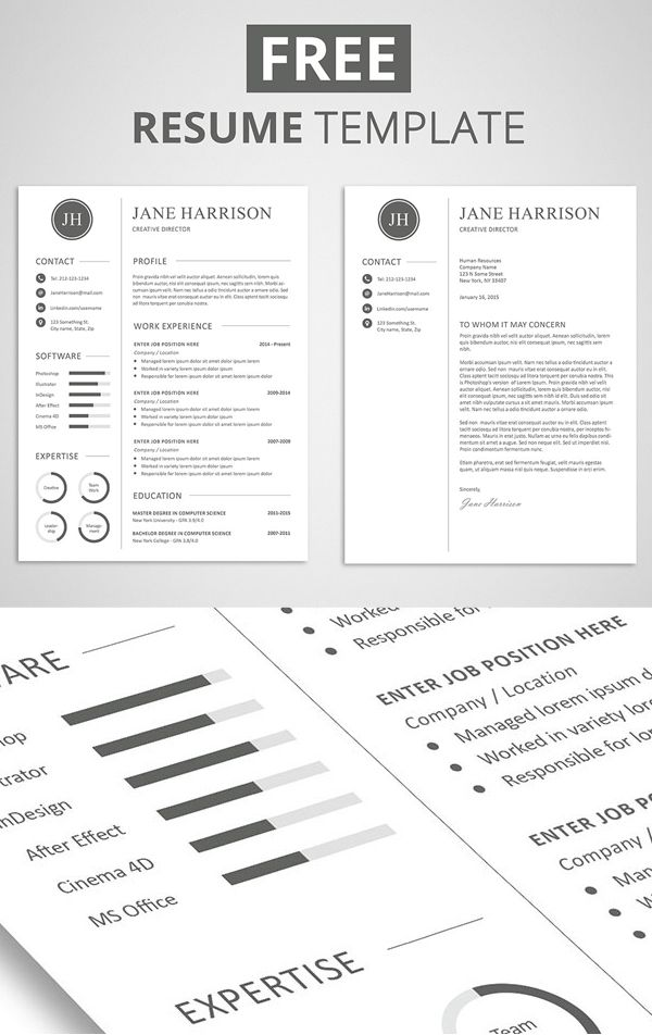 Free Resume Template and Cover Letter Free stuff Pinterest - Free Resume Cover Letter Template