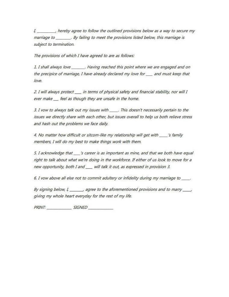 A Marriage Contract Non-Traditional Marriage-Life Ideas - marriage contract