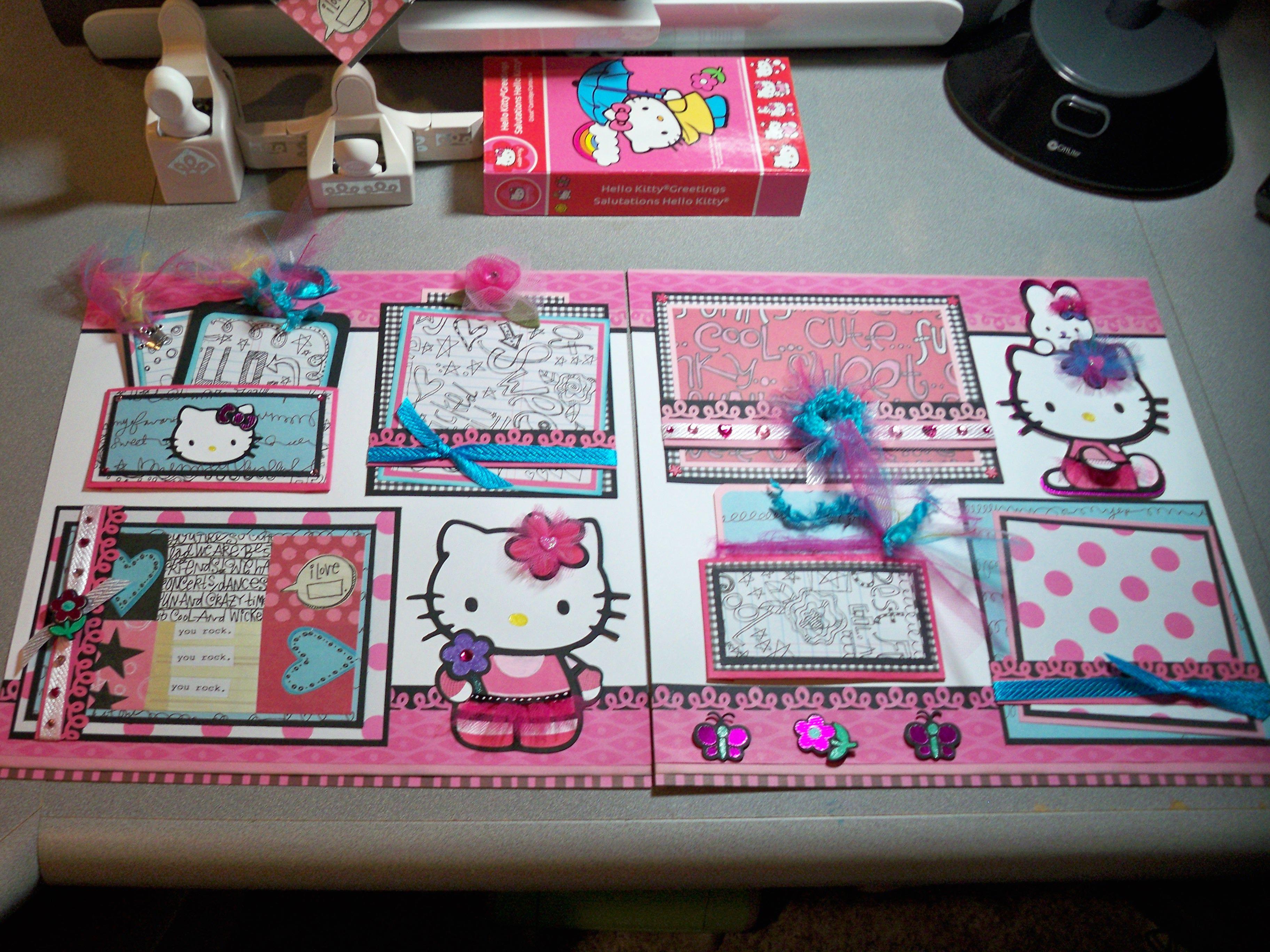 Hello kitty scrapbook ideas - Hello Kitty Scarupbook Cricut Weekly Challenge I Want To Scrapbook