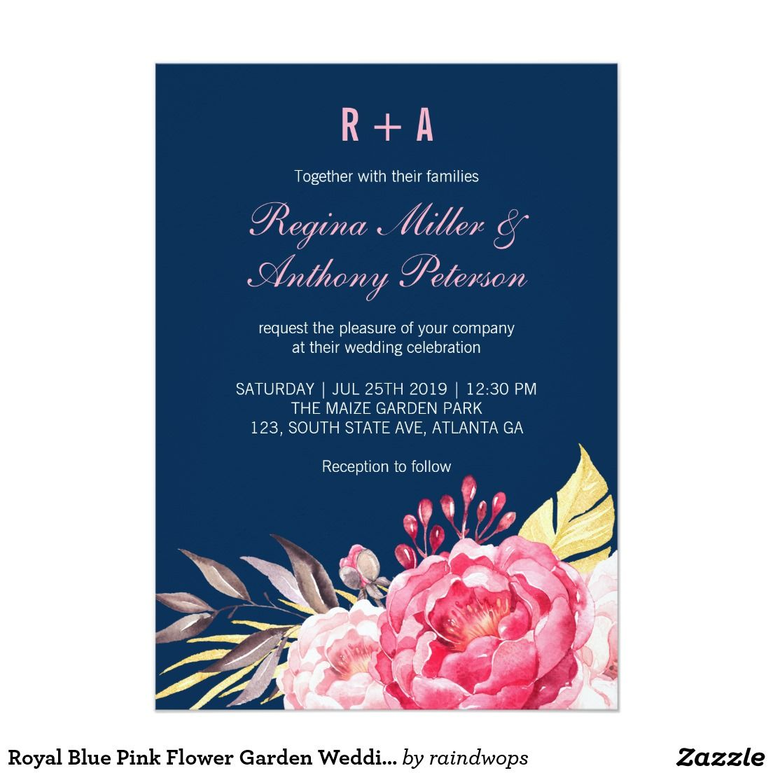 Royal Blue Pink Flower Garden Wedding Invitation