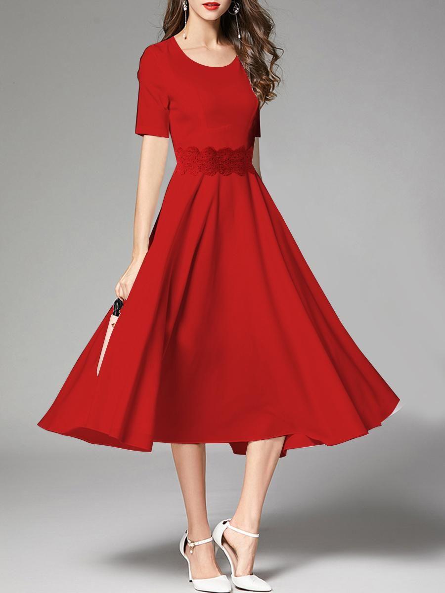 6e8eb098cf #EnvyWe #BerryLook - #berrylook Round Neck Decorative Lace Plain Maxi Dress  - EnvyWe.com