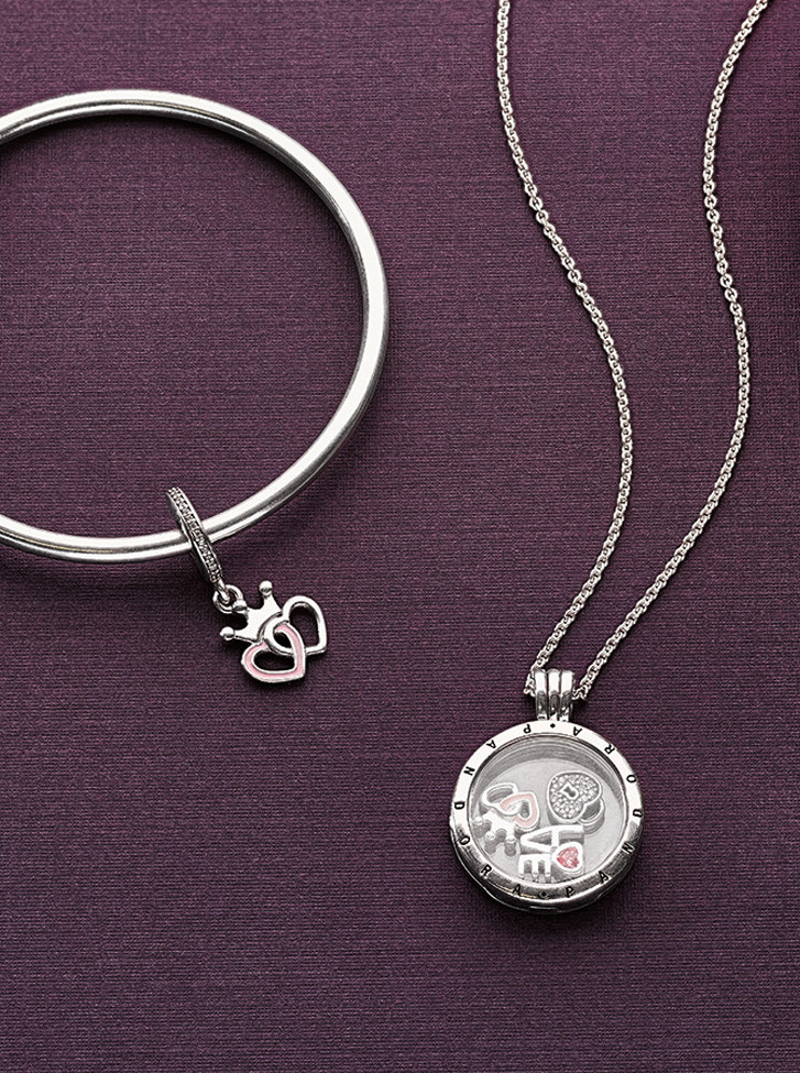 c126cf692 Cherish your romantic memories with this sweet trio of petite elements for  your Floating Locket. #PANDORA #PANDORAnecklace #PANDORAbracelet