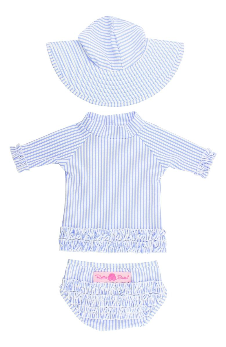 dfd550558 Free shipping and returns on RuffleButts Seersucker Two-Piece Rashguard  Swimsuit & Hat Set (Toddler Girls) at Nordstrom.com. Seersucker stripes and  ruffled ...