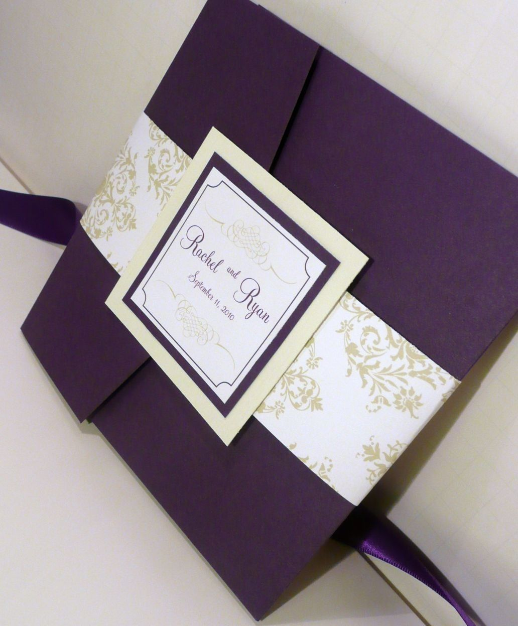 Pocketfold wedding invitation dark purple invites mint and jadore damask wedding invitation purple and chartreuse pocketfold sample 600 via etsy stopboris Image collections