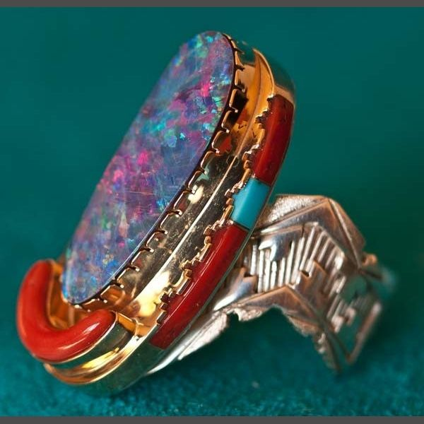 Native American Coral Ring by Leo Yazzie Native American Gold