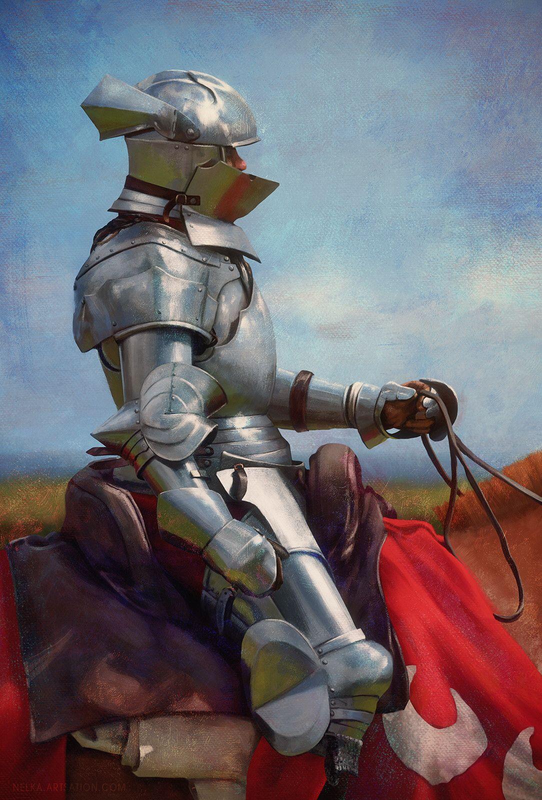 m Paladin Plate Helm Sword on Horseback midlvl -- Share via Artstation iOS App, Artstation © 2017