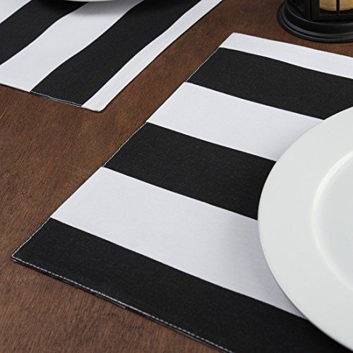 Black White Stripes Placemats 4pack Click On The Image For Additional Details Note It Is Affiliate Lin Room Accessories Black White Stripes Black And White