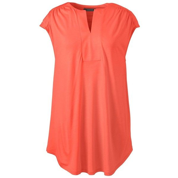 16ed418fb88 Lands  End Women s Petite Shirred Neck Tunic Top ( 35) ❤ liked on Polyvore