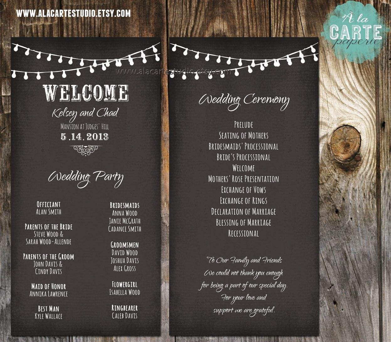 String Lights Wedding Ceremony Cards Program Chalk Board Style Rustic Vintage