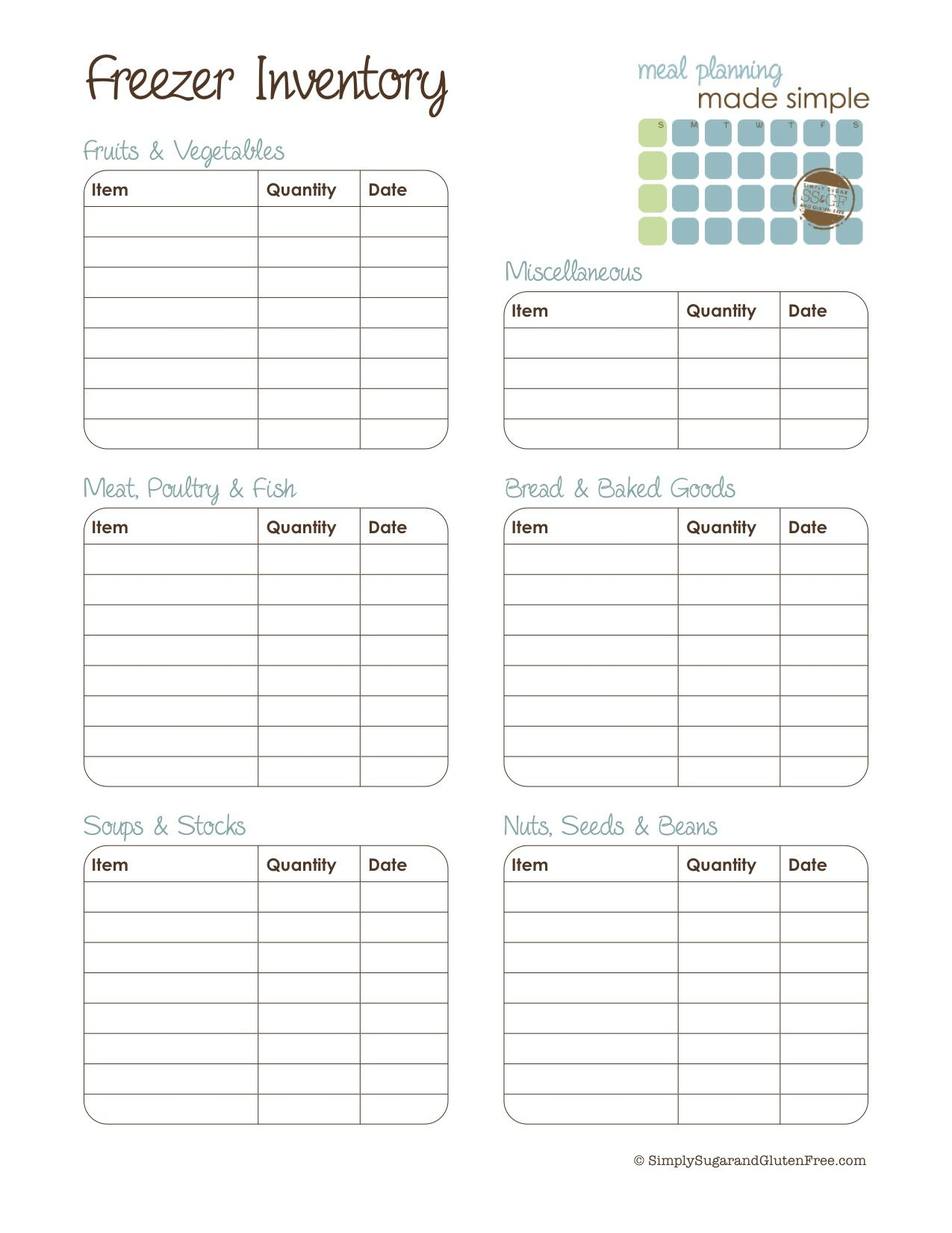 Printable Freezer Inventory List