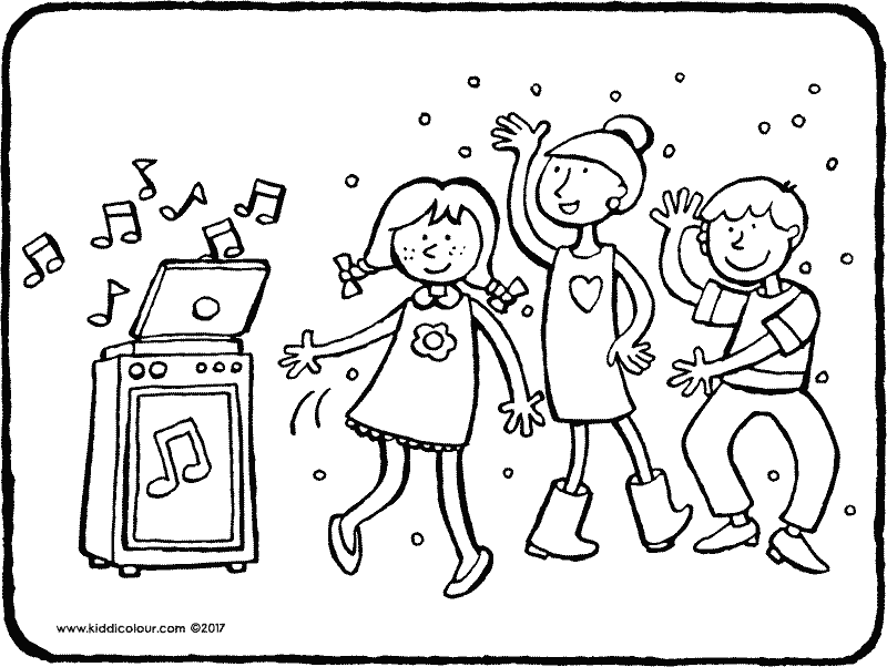 children s disco colouring page drawing picture 01k