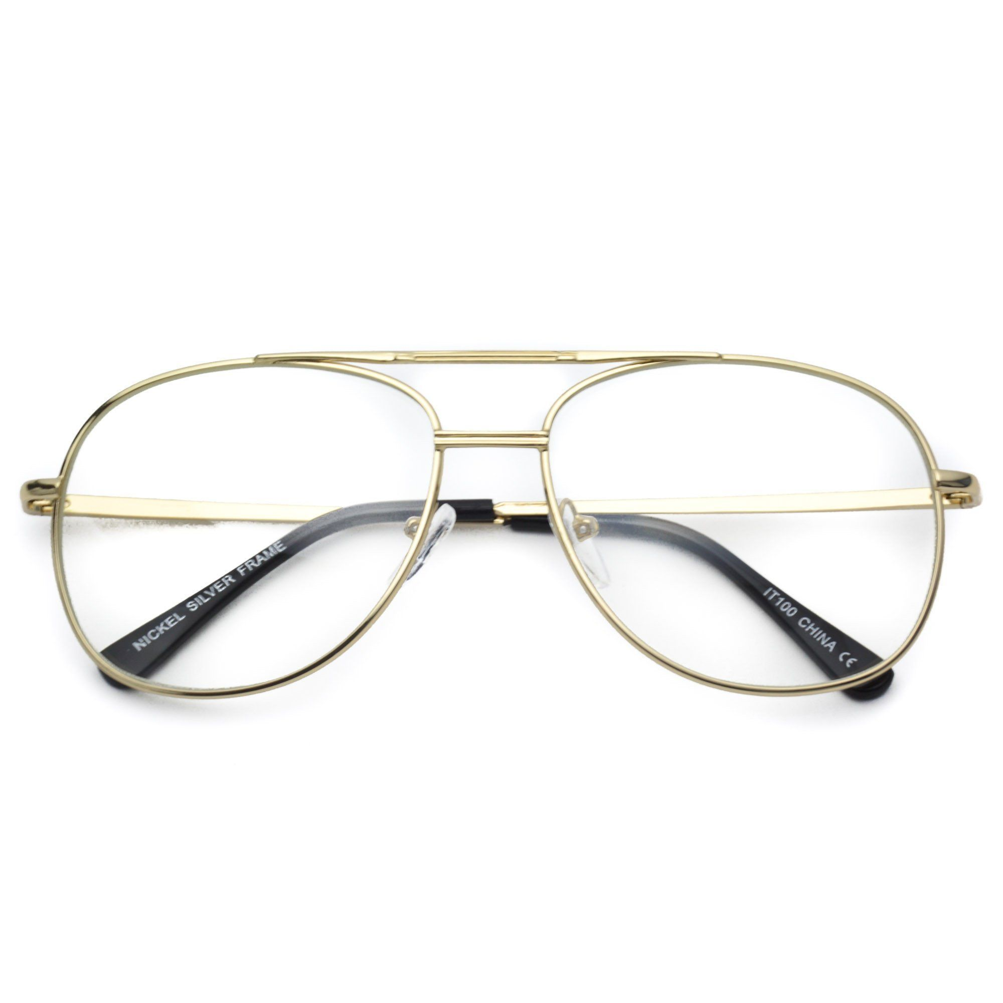 ffb6293b969 Addison 90 s Metal Frame Gold Silver Clear Aviator Glasses ...