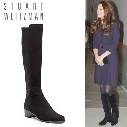 bdd26077cac New-Stuart-Weitzman-Women-039-s-Mezzaluna-Tall-Leather-Boots-Black-US-5-655