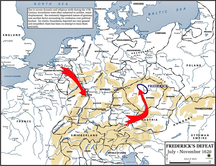 In mid-1620 the Hapsburgs began their offensive to drive Frederick from the throne of Bohemia.  It was a two pronged operation. In the north the Army of Flanders marched down the Rhine and occupied Frederick's original Palatine electorate. Hapsburg and allied Bavarian troops moved northeastward towards Prague.