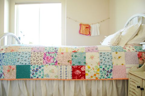Adorable one-patch floral quilt