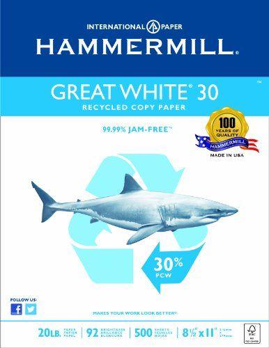 Hammermill Great White 30% Recycled Copy Paper Poly Wrap,... https://www.amazon.com/dp/B00IVOMMGW/ref=cm_sw_r_pi_dp_GiaAxbB5DE6K3