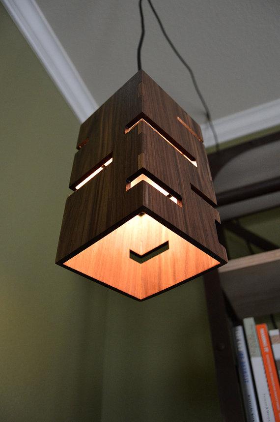 etsy lighting pendants. Geometric Wooden Pendant Light Par LottieandLu Sur Etsy Lighting Pendants H