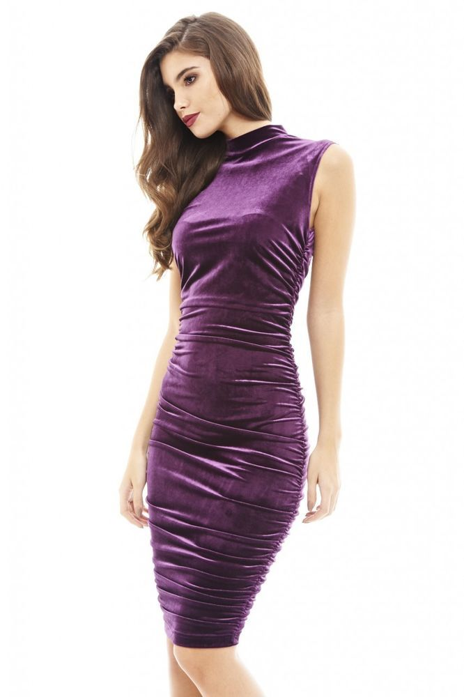 AX Paris Womens Plum High Neck Velvet Midi Dress Stylish Glam Ladies ...