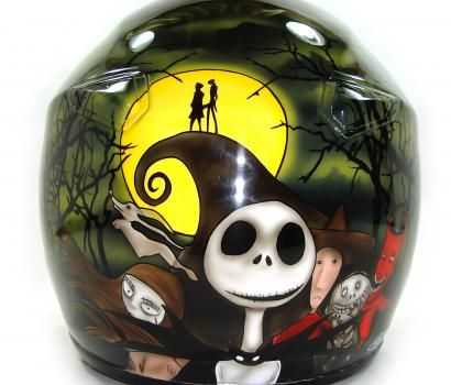 Custom Painted Helmet Gallery Jack Skellington Nightmare Before Christmas Helmet Custom Paint Motorcycle Custom Helmet Paint Helmet Paint