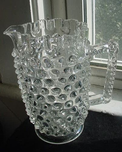 """EAPG large Hobnail Pitcher made by Hobbs, Brockunier or Elson in their 'Dewdrop' pattern circa late 1880's. 7.75""""H x 5"""" from spout to opposite side crimped rim (excluding the handle)."""
