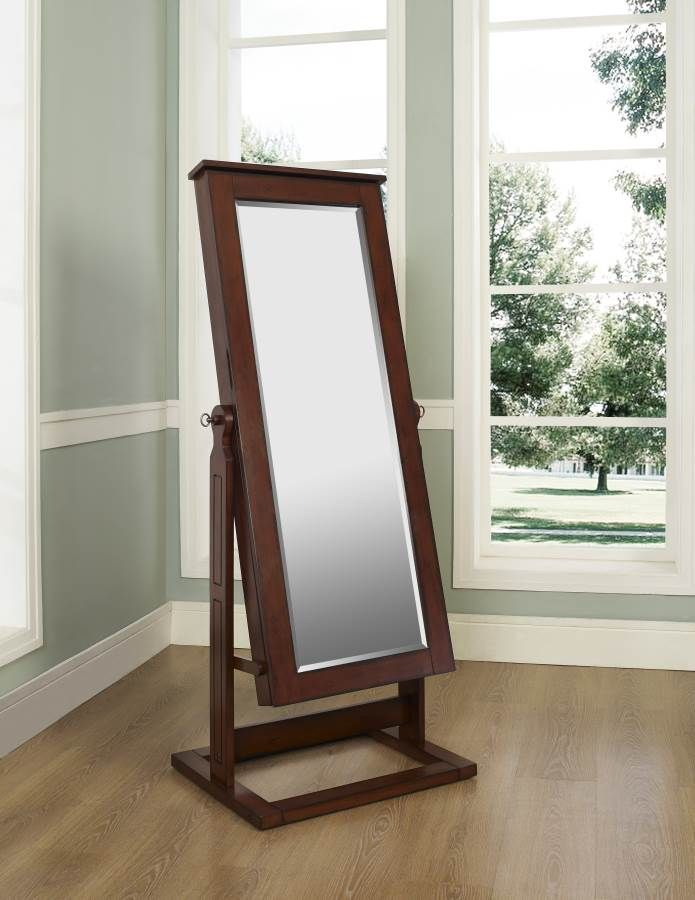 Powell Walnut Colored Full Length Adjustable Mirror With Jewelry Wardrobe Mirroring And Paraphrasing