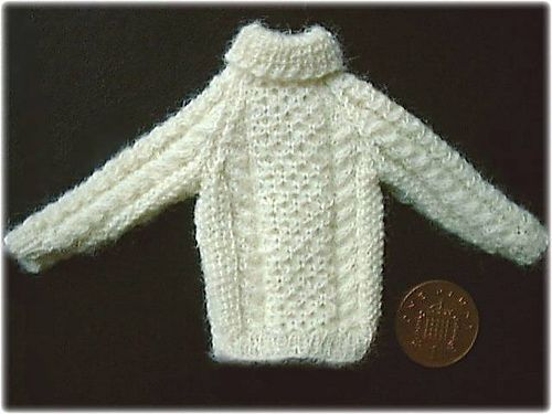 112th Scale Mans Aran Sweater 4 Pattern By Frances Powell