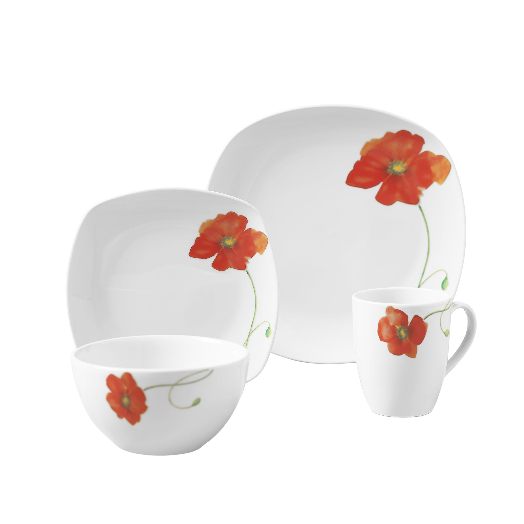 Tabletops Unlimited Palermo 16pc Soft Square Porcelain Dinnerware ...