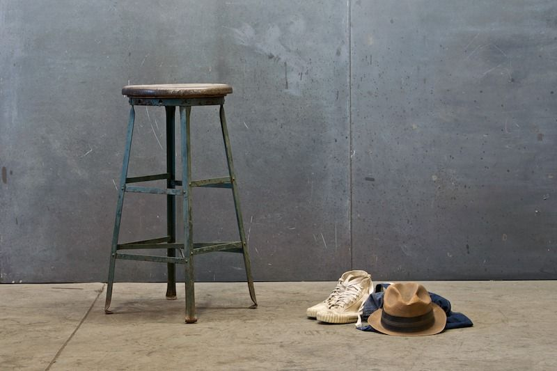 Vintage Industrial Oak Steel Eiffel Stool : Factory 20